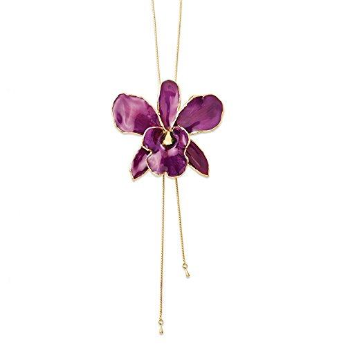 Damen-Halskette Cattleya Orchidee, lackiert, verstellbar, 7,6 cm, Violett
