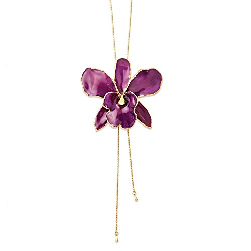 Diamond2Deal Lacquer Dipped Purple Cattleya Orchid Adjustable Necklace Size 3' for Women