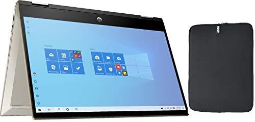 2020 HP Pavilion x360 14' FHD IPS Touchscreen 2-in-1 Laptop PC, 10th Gen Intel Core i5-1035G1, 8GB DDR4 RAM, 256GB PCIe SSD, Backlit Keyboard, Windows 10 + Woov Laptop Sleeve Bundle, Luminous Gold