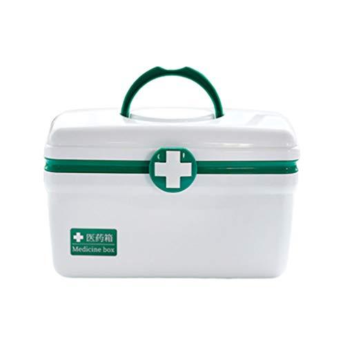 Healifty Medizinbox Doppelschicht Erste-Hilfe-Box Notfall Kunststoff Tragbare Medizin Dose Medizin Organizer Behälter für Zuhause Outdoor Grün L
