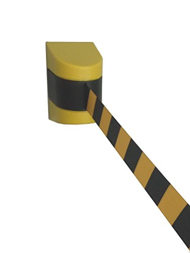 Pro²Tect Absperrgurtkassette TBM-77-Y, Gurtbandkassette mit Magnethaftung, Auszug: 7,4 m, Gelb, Absperrung, Wandgurtkassette, Leitsystem