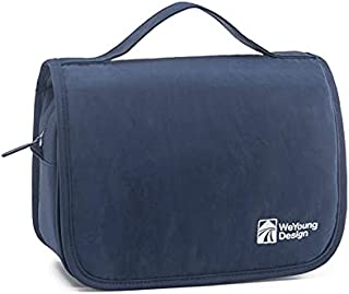 Portable Waterproof Cosmetic Makeup Toiletry Travel Hanging Organizer Storage Bag Pouch for Women Girls (Navy Blue)
