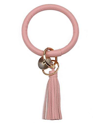 PU-Leder-Schlüsselanhänger Armbänder Kette Schlüsselanhänger, Lederquaste Armband runde Schlüssel Unisex Schlüsselanhänger (Rosa)