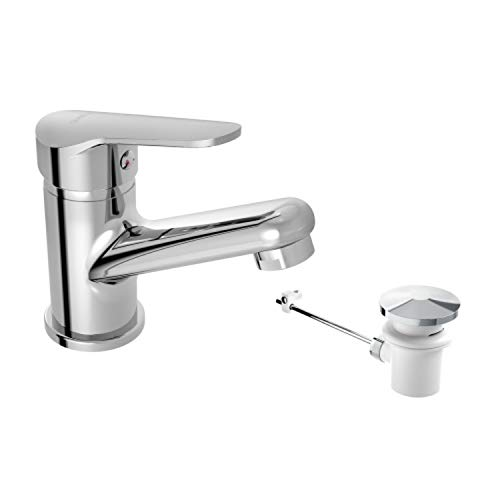 Grifo monomando para lavabo, con desagüe automático, colección Arlan, 13,5 x 12,1 x 5 centímetros, acabado metálico (referencia: 3999100)