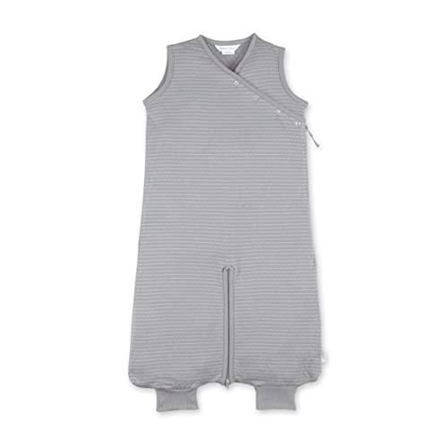 BEMINI Saco de dormir de 3 a 9 meses, 100% algodón, diseño de rayas, color gris y beige