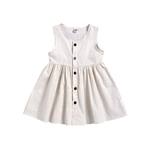 Julhold Sommer Kleinkind Kinder Baby Mädchen Mode Solide Ärmellos Bottom Prinzessin Casual Baumwollkleid Kleidung 0-4 Jahre