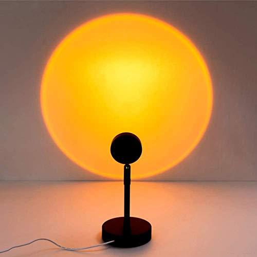 Sunset Lamp Sunset Proyection Lamp LED Proyector Luz con USB, 90 ° Rotación Lámpara de ambiente Romántica Visual Fiesta Canto Decoración Dormitorio (Sunset1)