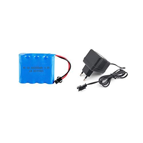 Batería Recargable 4XAA de 4,8 V, batería NI-CD de 2000 mAh para Aviones RC, Barco, Control Remoto, vehículo Todo Terreno, Coche + Cargador USB Yellow