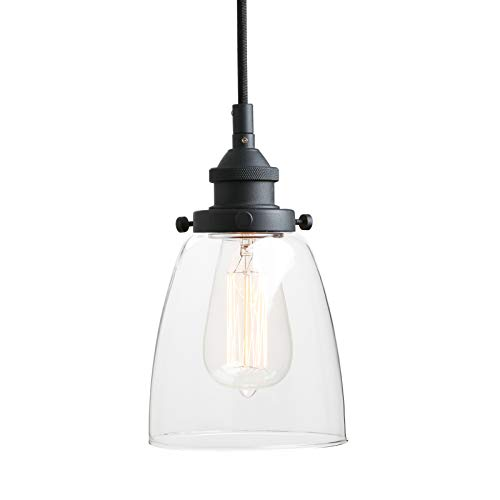 Pathson Retro Pendant Lighting, Industrial Small Hanging Light with Clear Glass and Textile Cord, Adjustable Kitchen Lamp for Hotels Hallway Living Room