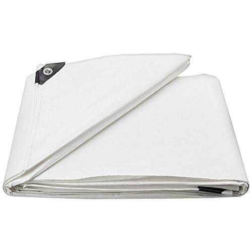 Premium Quality Cover Tarpaulin White Tarpaulin PE Tarpaulin Waterproof Heavy Duty Tarp Sheet Cover with Eyelets for Garden Furniture, Hutch, Trampoline, Wood, Car, Camping, Gardening (2x3m/6.5x10ft)