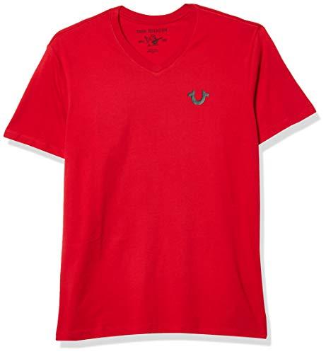True Religion Men's Classic Horseshoe Logo Short Sleeve Crewneck Tee, Ruby Red, X-Large