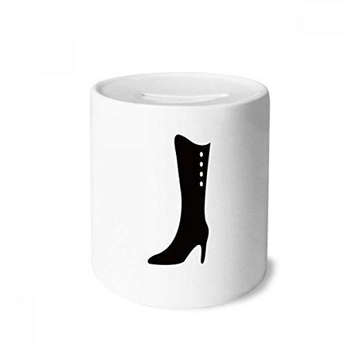 DIYthinker Simple Graphics Botas de cano alto pretas com contorno para dinheiro, caixa de moedas de cerâmica, presente de cofrinho