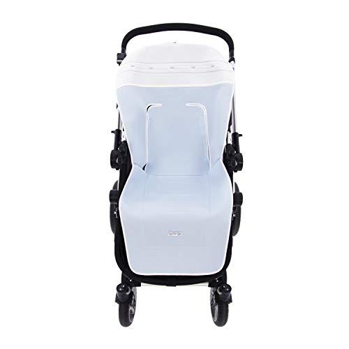 Colchoneta o funda de Paseo para silla Universal Rosy Fuentes en color blanco celeste