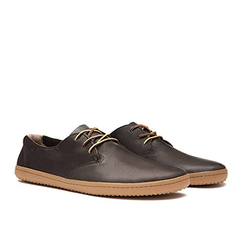 Vivobarefoot Ra II, Mens Leather Barefoot Oxford Lace Up Shoe Dark Brown