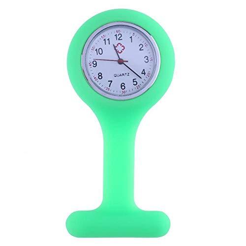 QFYD FDEYL médico Reloj de Bolsillo de Cuarzo,Reloj de Silicona para Enfermera médica, Reloj de Bolsillo con Espejo de Cristal de Cuarzo, Verde,Reloj de Enfermera