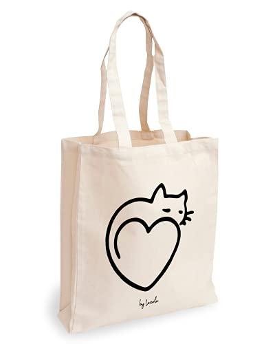 Loxato Borsa in tela Tote Bag - Borsa a tracolla da donna, in cotone naturale, 100% sacchetti riutilizzabili, extra larghezza 8 cm, manici lunghi 70 cm, 220 g/m², borse di tela grandi