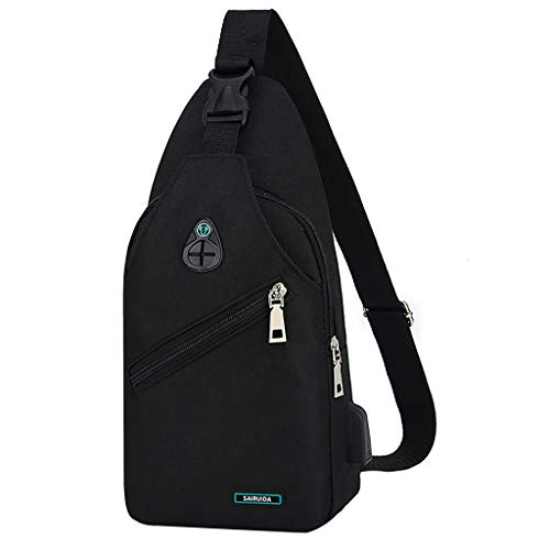 Haluoo Mens Anti Theft Water Resistant Chest Shoulder Backpack Sling Bag Small Crossbody Daypack Casual Backpack Chest Bag Rucksack Outdoor Cycling Chest Shoulder Gym Fashion Bags Sack Satchel (Black)