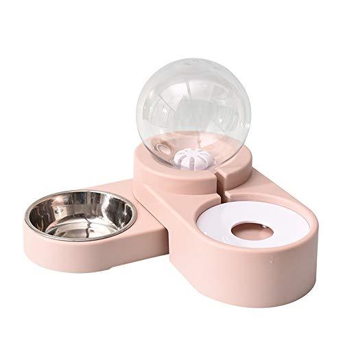 dispenser cibo gatti,Ciotola per animali domestici per cani gatti con protezione per il collo antiribaltamento, ciotola per animali domestici slow food automatica-ciotola in acciaio inossidabile rosa
