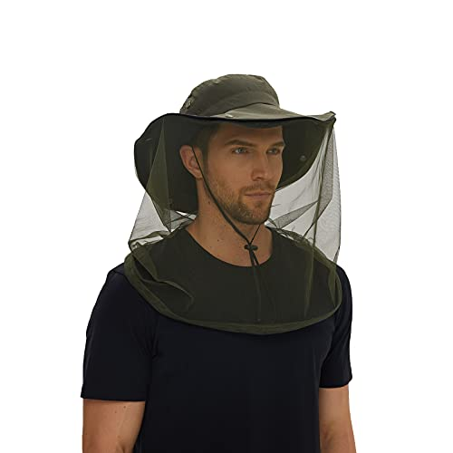 TNFFNA UPF50+ Mosquito Head Net Fishing Large Hat for Men Women, Outdoor Mosquito Protection Safari Adjustable Cap (Army Green)