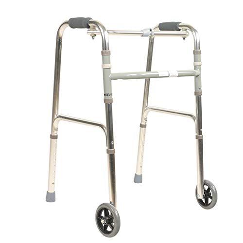 Yunteng-Krücken Folding Mobility Aluminium-Gehhilfe mit 2 Rädern/Leichter, alterungsbereiter Rollator-Rahmen/unterer Glied-Trainings-Rollator Vierbeiniger Gehstock-Justierbare Höhe 75-90cm