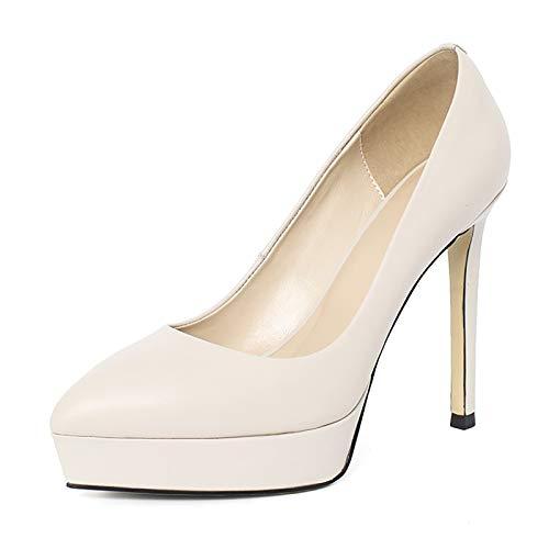 QSMGRBGZ Zapatos de tacón alto para mujer, sexy, 3 cm, plataforma impermeable, zapatos altos para primavera, 12 cm, tacón fino puntiagudo, zapatos individuales (deslizables), color blanco, 40 EU