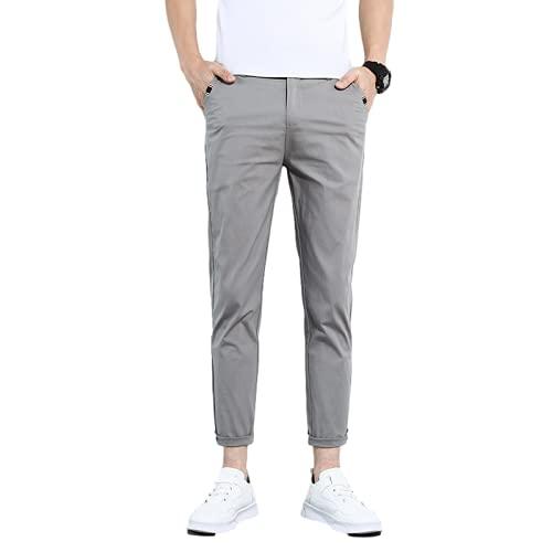 Yikesnt Los hombres Casual Pantalones de verano Estaciones Delgado Color Sólido Sección Delgada Juventud Auto-Cultivo Todo Partido Negocio Casual Pantalones, verde, 30