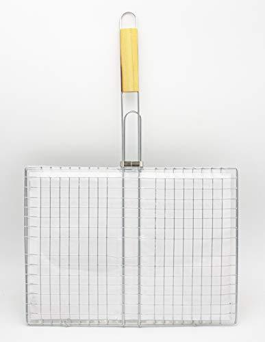 LEYENDAS Barbacoa Parrilla Portátil Plegable Acero Inoxidable Cesto Pescado Parrilla con Mango de Madera para Pescado, Verduras, Carne (60x40x30cm, Gris)
