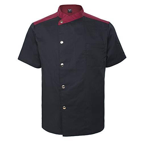 Top Tie Giacca Cuoco Professionale, Giacche da Chef, Chef Giacca, Traspirante da Cucina Uniforme da Lavoro, Ristorazione, Manica Corta, Unisex, Chiusura a Scatto Nera