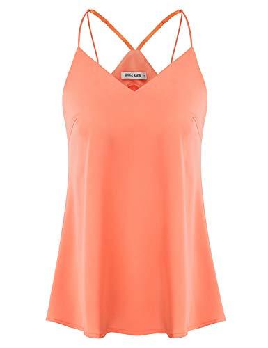 GRACE KARIN Top Donna Elegante Sexy Senza Manica Spalline Spaghetti Tops Body Top Elegante Sexy Arancione S CLS02518-3
