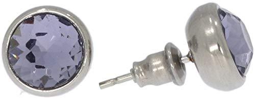 Pendientes facetados de circonita lila de acero inoxidable HS1427