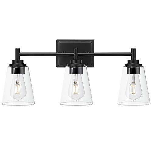 3-Light Bathroom Vanity Light Fixture Matte Black Wall Sconce with 6.25' Clear Glass Shade