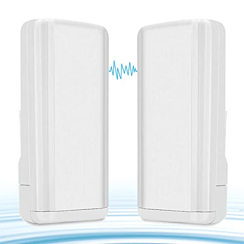 Wireless WiFi Bridge,Riiai CPE881 5.8G Point-to-Point Access Outdoor CPE Kit Long Range Transmitter Supports 2.5KM Transmission Distance with 14 dBi High-Gain Antenna,2-Pack