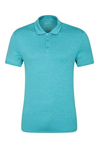 Mountain Warehouse Agra Agra rayó la Camiseta del Polo de Mens - te UV de la protección, Tapa del Verano de Wicking del Sudor, Peso Ligero, Camiseta Ocasional Azul Brillante M