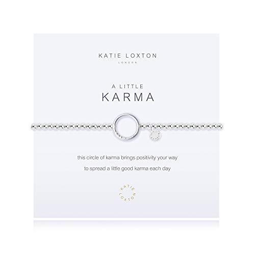 Katie Loxton A Little Positive Karma Silver Women's Stretch Adjustable Charm Bangle Bracelet
