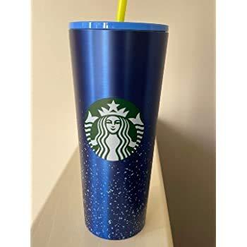 Starbucks 2020 - Bicchiere a doppia parete in acciaio INOX con coperchio in plastica e cannuccia, 24 ml, colore: Blu