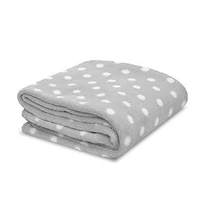 Little Starter Plush Toddler Blanket, Grey Dot