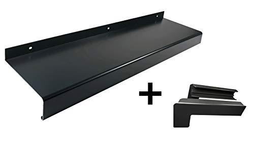 Alu Fensterbank anthrazit (Set) inkl. Aluminium Endkappen für Putz bis 2m Zuschnitt auf Maß (1200 mm, anthrazit Auslage 110 mm)