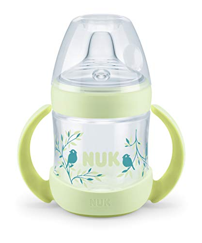 NUK Nature Sense - Botella para aprender a beber de 6 a 18 meses, indicador de control de temperatura, 150 ml, válvula anticólicos, boquilla antigoteo de silicona, sin BPA, color verde
