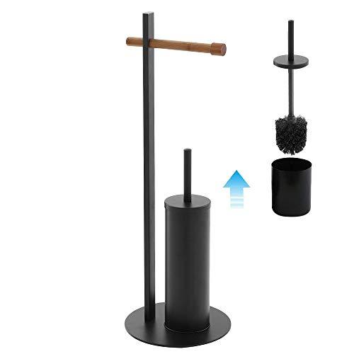 Inbagno Piantana portarotolo e scopino WC, Acciaio Nero e bambù, D. 22 x H 67.5 cm, con Contenitore e scopino con setole Nere