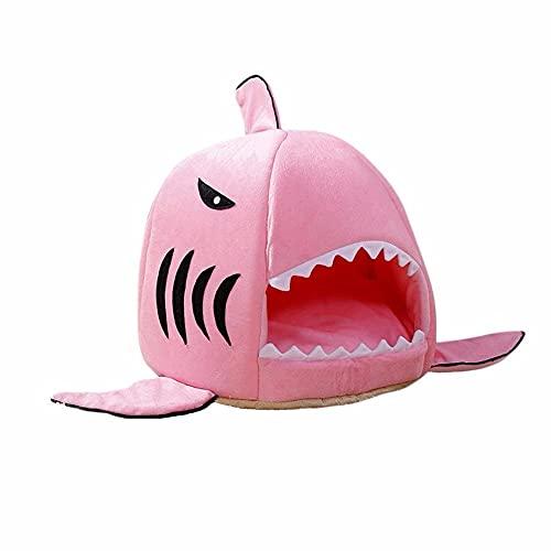 Casa morbida per cani di grandi dimensioni, calda squalo, cuccia per cani e gatti, cuccia per cani di piccola taglia (50 x 50 x 48 cm, rosa)