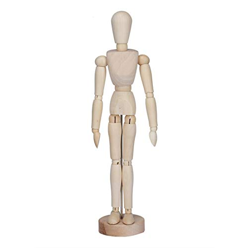 Art Supply Wood Artist Drawing Manikin Articulated Mannequin with Base and Flexible Body - Perfect for Drawing The Human Figure(Male)