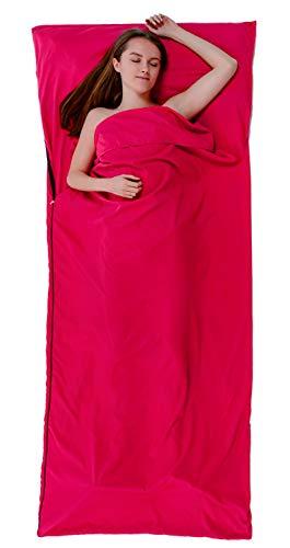 Kjell SPORTS® 2in1 Hüttenschlafsack aus Baumwolle und XXL Reisedecke, leicht, kompakt&dünn, Schlafkomfort für Hostels, Hütten, Jugendherberge. Reiseschlafack, Sommerschlafsack Schlafsack Inlett (Pink)