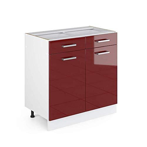 Vicco Küchenschrank R-Line Hängeschrank Unterschrank Küchenzeile Küchenunterschrank Arbeitsplatte, Möbel verfügbar in 6 Dekoren (Bordeaux ohne Arbeitsplatte, Schubunterschrank 80 cm)