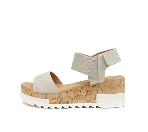 SODA SPORT ~ Women Open Toe Single Band Elastic Ankle Strap Flatform Wedge Casual Fashion Sandal with Cork Wrap Bottom (Ice, numeric_7_point_5)