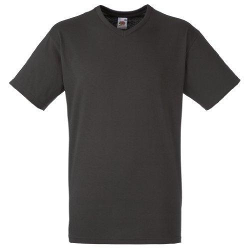 Fruit of the Loom Valueweight T-Shirt für Männer mit V-Ausschnitt, kurzärmlig (Medium) (Kohlegrau)