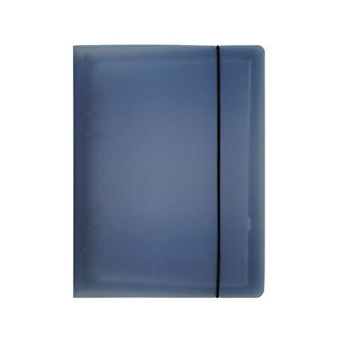 A5 A6 6穴 透明PPなシステム手帳 バインダー システム手帳 プランナー ルーズリーフ ファイロファックスノートブック オフィス学用品手帳 ボダン付き (紺色, A5 Mini)