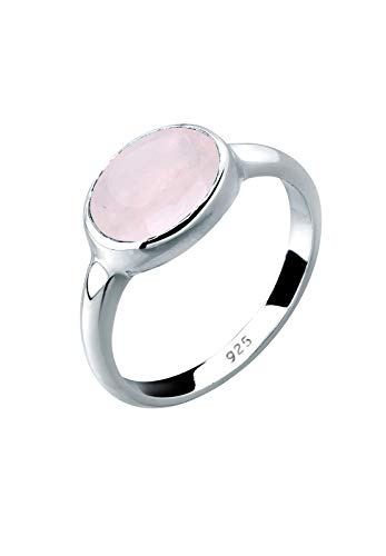 Elli Ring Damen Rosenquarz Solitär Basic in 925 Sterling Silber
