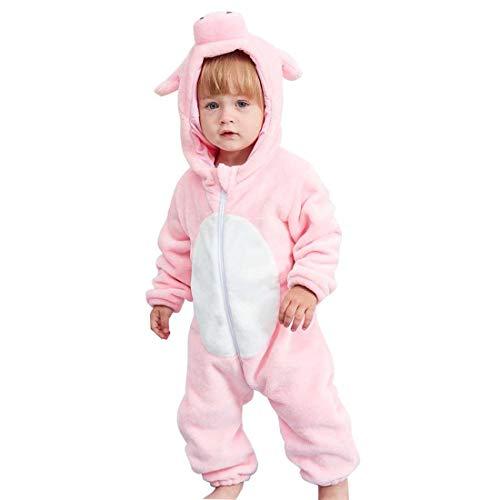 Happy Cherry - Bebé Traje de Disfraces Franela Encapuchado Mono Mameluco Pelele Recién Nacido Ropa de Una Pieza Animado Animal Pijama Disfraz Niños Niñas -19-24 Meses