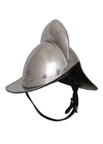 Battle de Merchant en alemán morrión Casco, 1,6mm de acero con piel Inlay–Tarde–País Siervo–Medieval