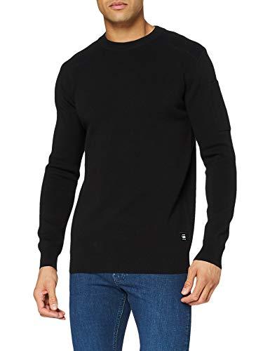 G-STAR RAW Sleeve Pocket Sudadera, Dk Black/Combat C707-c346-Carrete de Pesca, Color Negro, L para Hombre